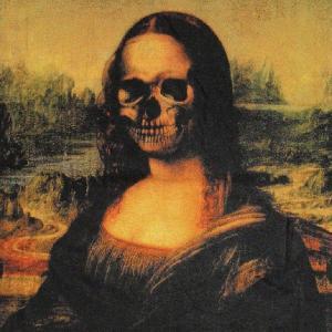 グラフィックTシャツ ダヴィンチの名作が経年劣化?「SHE HAS GREAT SMILE(ステキな笑顔の女性)」 おしゃれなアーティストTシャツ|neigh