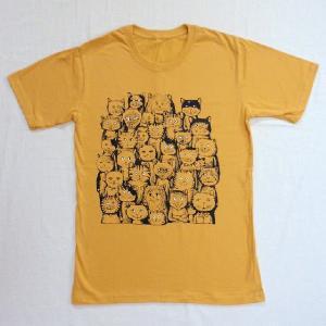ニャンコTシャツ ネコがいっぱいのかわいいデザインが女の子に人気!「ニャンコまみれ」 ナチュラルなデザインTシャツ|neigh|02
