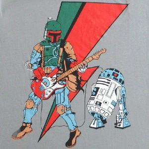 パロディーTシャツ STARWARSの人気キャラ ボバ・フェットがかき鳴らすギター!アンプはR2-D2!「賞金稼ぎのギターソロ」!|neigh
