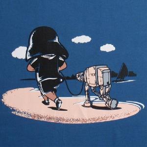 パロディーTシャツ スターウォーズのベイダー卿が海岸をペットとランニング中!ペットは小型のAT-AT??「ベイダー卿のペット」!|neigh