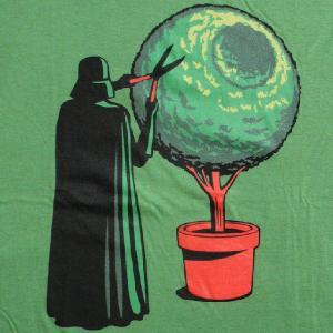 パロディーTシャツ スターウォーズのベイダー卿に木の剪定をお願いしたら...「デススター盆栽」帝国軍の究極兵器を完全再現!|neigh