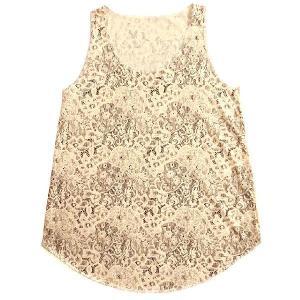 ノースリーブ 女の子に人気のデザイン「レース柄ブラウン」 タンクトップ 重ね着でも◎、水着の上からでも◎!夏の必須ガールズアイテム|neigh