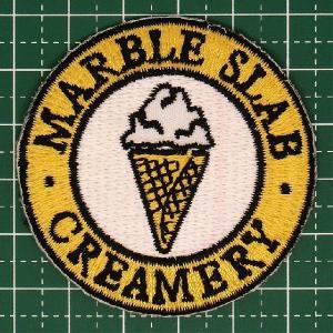 人気の企業ロゴワッペン「MARBLE SLAB CREAMRY(マーブル・スラブ・クリーマリー)」アイロンワッペン 定型郵便送料無料|neigh