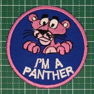 お子様の入学バッグに! 人気のピンクパンサーのアイロンワッペン「I'M A PANTHER」 定型郵便送料無料|neigh