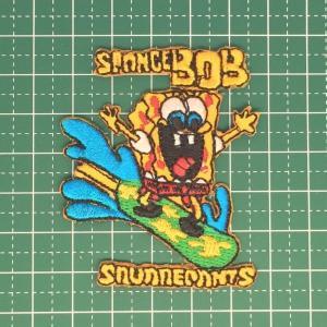お子様の入学バッグに! 全世界で人気のスポンジボブのアイロンワッペンはインパクト有り!「SpongeBob」 定型郵便送料無料|neigh