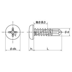 ピアスPAN  3.5X16 鉄 BC(黒クロメート) 【1,000本】 nejikuru 03