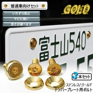 ナンバープレート用ボルト ピン・トルクスサラ ステンレス(ゴールド) 3本 [ボルト・ワッシャーのみ]|nejiya