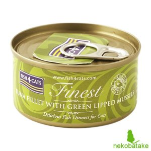 フィッシュ4キャット キャット缶 ツナ&緑イ貝 70g 正規品 キャットフード 一般食|nekobatake