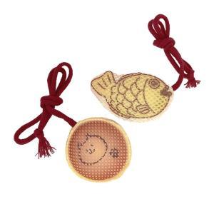 国産ハミガキおもちゃ たい焼き&どら焼きミニセット / 猫用おもちゃ デンタルケア イトスイ|nekobatake