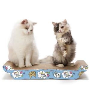 猫壱 バリバリ ベッド L (猫柄) 猫用品 ツメとぎ 本体 寝かせ型 両面 キャットニップ付|nekobatake