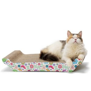 猫壱 バリバリ ベッド L (花柄) 猫用品 ツメとぎ 本体 寝かせ型 両面 キャットニップ付|nekobatake