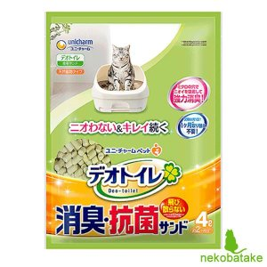 ユニ・チャーム デオトイレ 飛び散らない消臭・抗菌サンド 4L / 猫砂|nekobatake