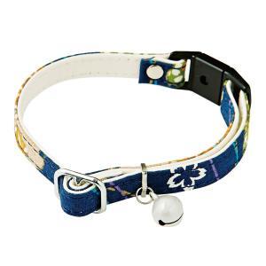 にゃんごころ 猫首輪 さくら手毬 紺 猫用品 首輪 和柄 セーフティーカラー 反射鈴付 Petio|nekobatake