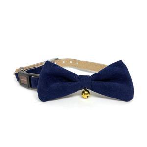 necoco リボン付キャットカラー M ブルー / 猫用首輪 セーフティーカラー 鈴付 Petio|nekobatake