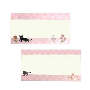 ミィー 封筒 ローズ&リボン のあぷらす 正規品 猫雑貨 ステーショナリー|nekobatake