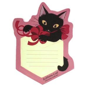 Ribbon Cat ダイカットメモ 黒ねこギフト のあぷらす 猫雑貨 ステーショナリー|nekobatake