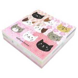 なごみ ブロックメモ さくら のあぷらす 正規品 猫雑貨 ステーショナリー|nekobatake