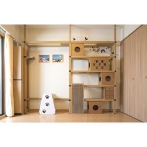 ニャンダフルシェルフ / 猫用 突っ張り型キャットタワー ECO おしゃれデザイン 日本製 ダンボール製|nekodan