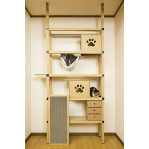 ニャンダフルシェルフ mini / 猫用 突っ張り型キャットタワー ECO おしゃれデザイン 日本製 ダンボール製|nekodan
