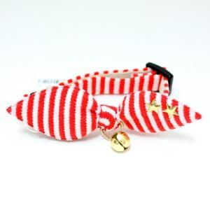 SALE・アモワークス マリンボーダーカラー レッド:S 猫用首輪 猫用カラー16〜25cm Amo.k nekokin