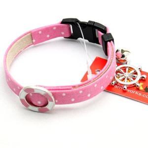 アモワークス ドットマリンカラー ピンク:M 猫用首輪 猫用カラー21〜35cm Amo.k|nekokin