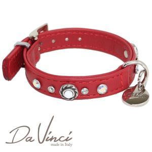 Da Vinci カラー Vittoria:赤 DV1.1.25R 小型犬用首輪・首周り実寸:約17〜21cm お洒落な イタリア製 かわいい ダ・ヴィンチ nekokin