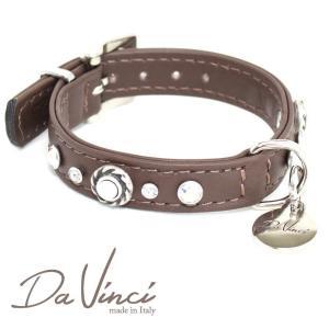 Da Vinci カラー Vittoria:茶 DV1.1.25BR 小型犬用首輪・首周り実寸:約17〜21cm お洒落な イタリア製 かわいい ダ・ヴィンチ nekokin