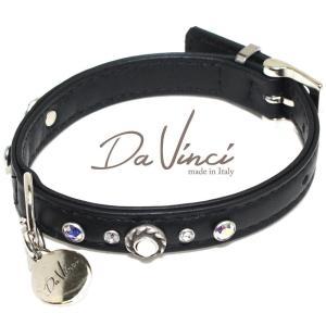 Da Vinci カラー Vittoria:黒 DV1.1.30B 小型犬用首輪・首周り実寸:約20〜25cm お洒落な イタリア製 かわいい ダ・ヴィンチ nekokin