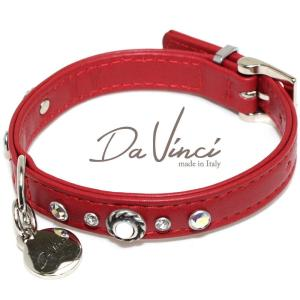 Da Vinci カラー Vittoria:赤 DV1.1.30R 小型犬用首輪・首周り実寸:約20〜25cm お洒落な イタリア製 かわいい ダ・ヴィンチ nekokin