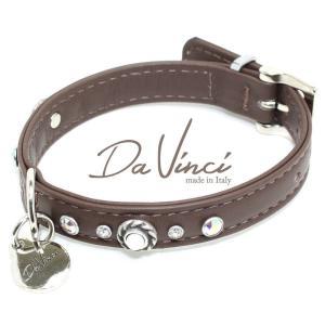 Da Vinci カラー Vittoria:茶 DV1.1.30BR 小型犬用首輪・首周り実寸:約20〜25cm お洒落な イタリア製 かわいい ダ・ヴィンチ nekokin