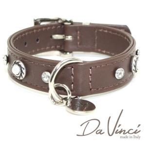 Da Vinci カラー Vittoria:茶 DV1.2.30BR 小型犬用首輪・首周り実寸:約20〜25cm お洒落な イタリア製 かわいい ダ・ヴィンチ nekokin