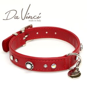 Da Vinci カラー Vittoria:赤 DV1.2.35R 小型用首輪・首周り実寸:約24〜30cm お洒落な イタリア製 かわいい ダ・ヴィンチ nekokin