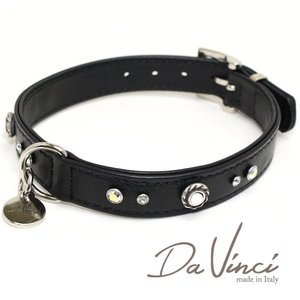 Da Vinci カラー Vittoria:黒 DV1.2.40B 中型犬用首輪・首周り実寸:約29〜35cm お洒落な イタリア製 かわいい ダ・ヴィンチ nekokin