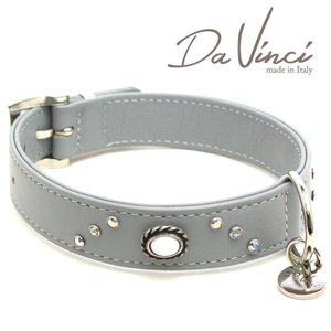 Da Vinci カラー Vittoria:グレー DV1.3.40G 中型犬用首輪・首周り実寸:約29〜35cm お洒落な イタリア製 かわいい ダ・ヴィンチ nekokin
