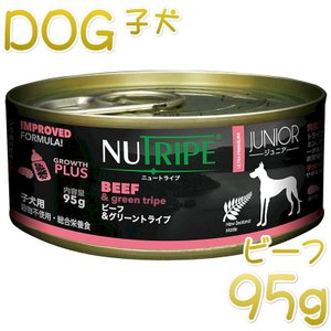 NEW 最短賞味2023.5・ニュートライプ ジュニア ビーフ&グリーントライプ 95gウェット子犬用 総合栄養食 正規品 nud13750 nekokin