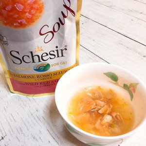 SALE/最短賞味2022.4・シシア 猫 スープ(レッドサーモン&キャロット)85g scc678パウチ 成猫用ウェット 一般食キャットフードSchesir 正規品|nekokin