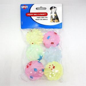 小さなボール6個入り。音が鳴ります。パピーボール パステル6P 犬用おもちゃ|nekokin