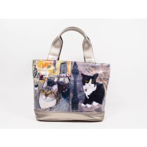 46e4e80686f0 マンハッタナーズ manhattaner's サクサク2 トートバッグ S ヨーロッパの夜更かし猫たち (71-2000-BRW) 猫グッズ 猫雑貨 猫  ねこ ネコ バッグ