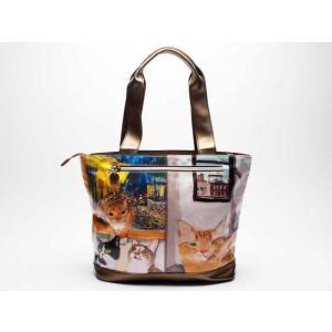 9b796372c8f3 マンハッタナーズ manhattaner's サクサク2 トートバッグ L チェルシーの窓 (71-2002-BEG) 猫グッズ 猫雑貨