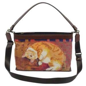 6286a707ff4e マンハッタナーズ トラッド 2WAYバッグ 「眠れるふわふわ」 (71-2250-BRW) 猫グッズ 猫雑貨