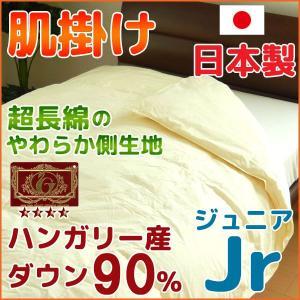 羽毛肌掛け布団 日本製 ジュニア ハンガリー産ダウン90% エクセルゴールド|nekoronta