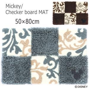 マット ディズニー 50×80cm 「ミッキー/チェッカーボード」 住之江(日本製)|nekoronta