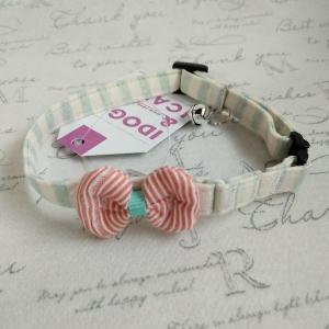 猫雑貨 猫用カラー iCat ラブリーカラー かすれボーダー×ピンボーダーリボン nekote-shop