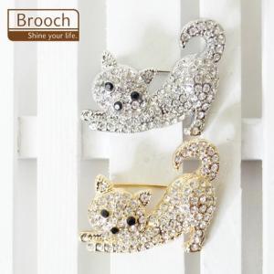 猫雑貨 ブローチ 猫デザイン キラキラブローチ|nekote-shop