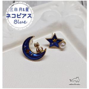 猫雑貨 アクセサリー ピアス 三日月&星ネコピアス~ブルー~|nekote-shop