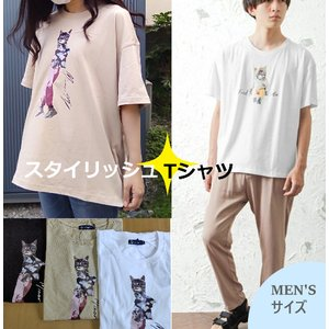 猫雑貨 ファッション Tシャツ 猫柄 メンズサイズ スタイリッシュTシャツ|nekote-shop
