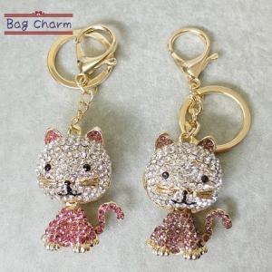 猫雑貨 ネコ キラキラゴールドバッグチャーム|nekote-shop