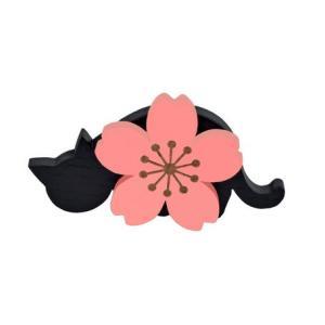 猫雑貨 桜と黒猫の木製メモスタンド|nekote-shop