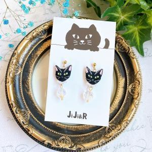 小粒刺繍猫サージカルステンレスピアス 黒猫|nekote-shop