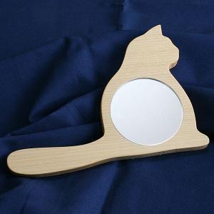 青森ヒバの手鏡(おすまし猫さん) nekoyashiki-shop